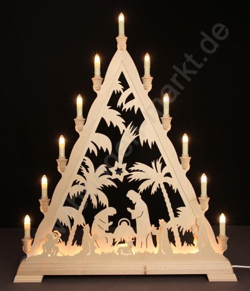 Christi Geburt mit Palmen beidseitig indirekt beleuchtet 56 x 68 cm