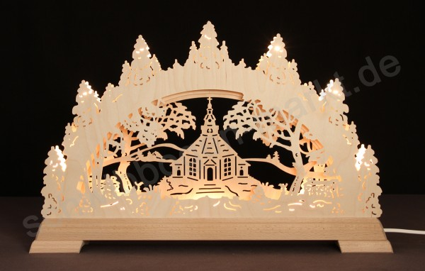 Seiffener Kirche 3D mit indirekter Beleuchtung 51 x 32 cm