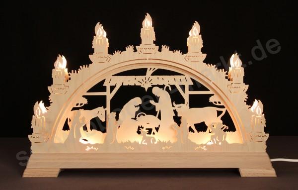 Christi Geburt im Stall 3D mit indirekter Beleuchtung 51 x 32 cm