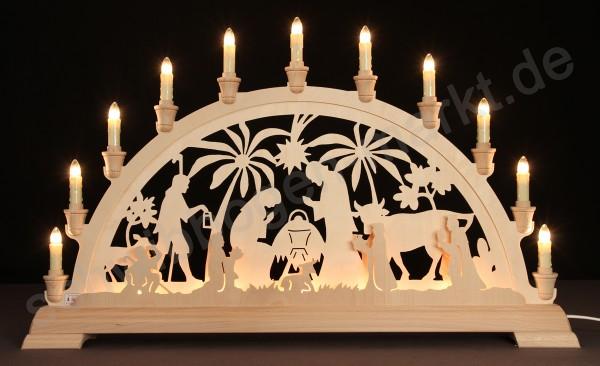 Christi Geburt mit Palmen beidseitig indirekt beleuchtet 67 x 40 cm