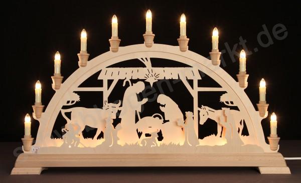 Christi Geburt im Stall beidseitig indirekt beleuchtet 67 x 40 cm