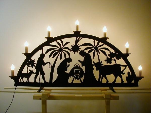 Christi Geburt mit Palmen Außenbogen aus Kunststoff 1,40 m