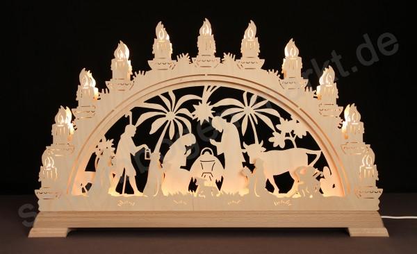 Christi Geburt mit Palmen 3D mit indirekter Beleuchtung 67 x 40 cm
