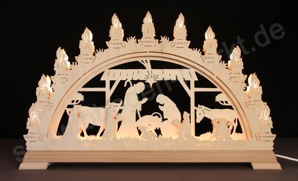 Christi Geburt im Stall 3D mit indirekter Beleuchtung 67 x 40 cm