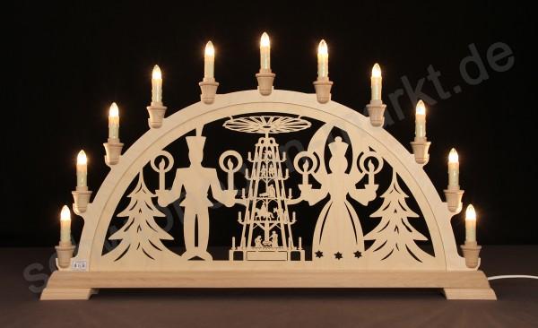 Weihnachtspyramide mit Lichterengel und Bergmann 67 x 40 cm