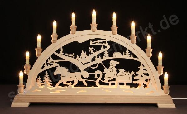 Weihnachtsmann mit Schlitten beidseitig indirekt beleuchtet 67 x 40 cm