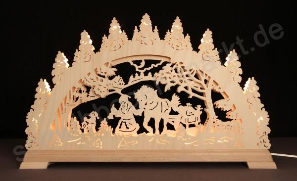 Weihnachtsmann mit Schlitten 3D mit indirekter Beleuchtung 67 x 40 cm