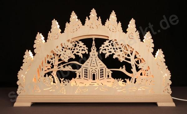 Seiffener Kirche 3D mit indirekter Beleuchtung 67 x 40 cm